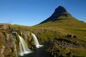 Poloostrov Snaefellsnes s vodopádem Kirkjufellfoss
