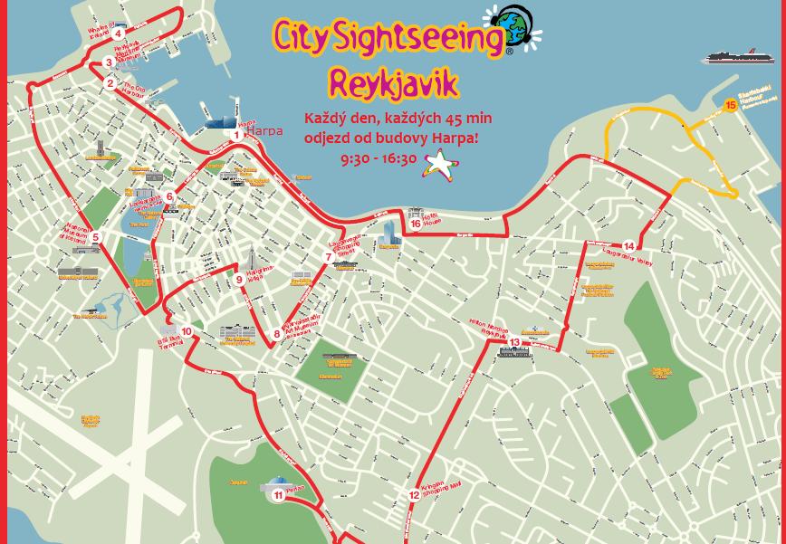 Trasa autobusové prohlídky Reykajvíku