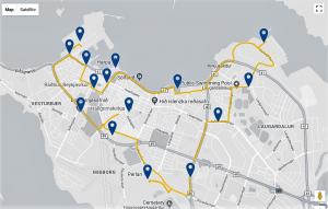 mapa zastávek Reykjavík