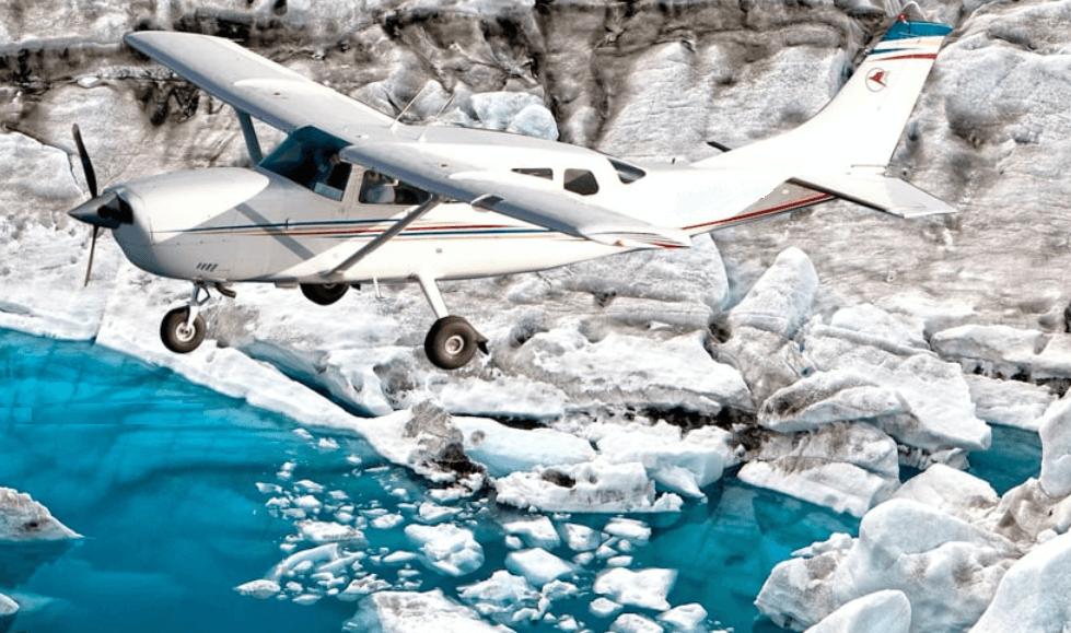 letadlo,vyhlídkový let nad Islandem