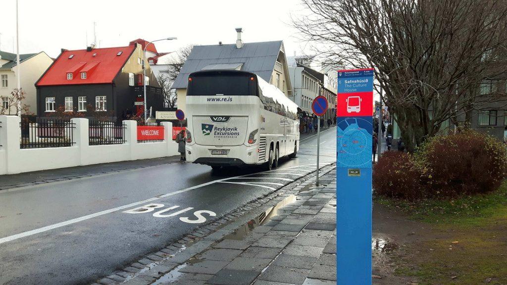 Nástupní zastávka č. 6 v Reykjavíku