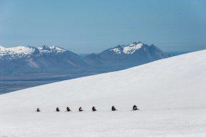 Sněžné skútry ledovec Island
