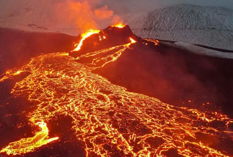 oblast sopečné erupce na Islandu